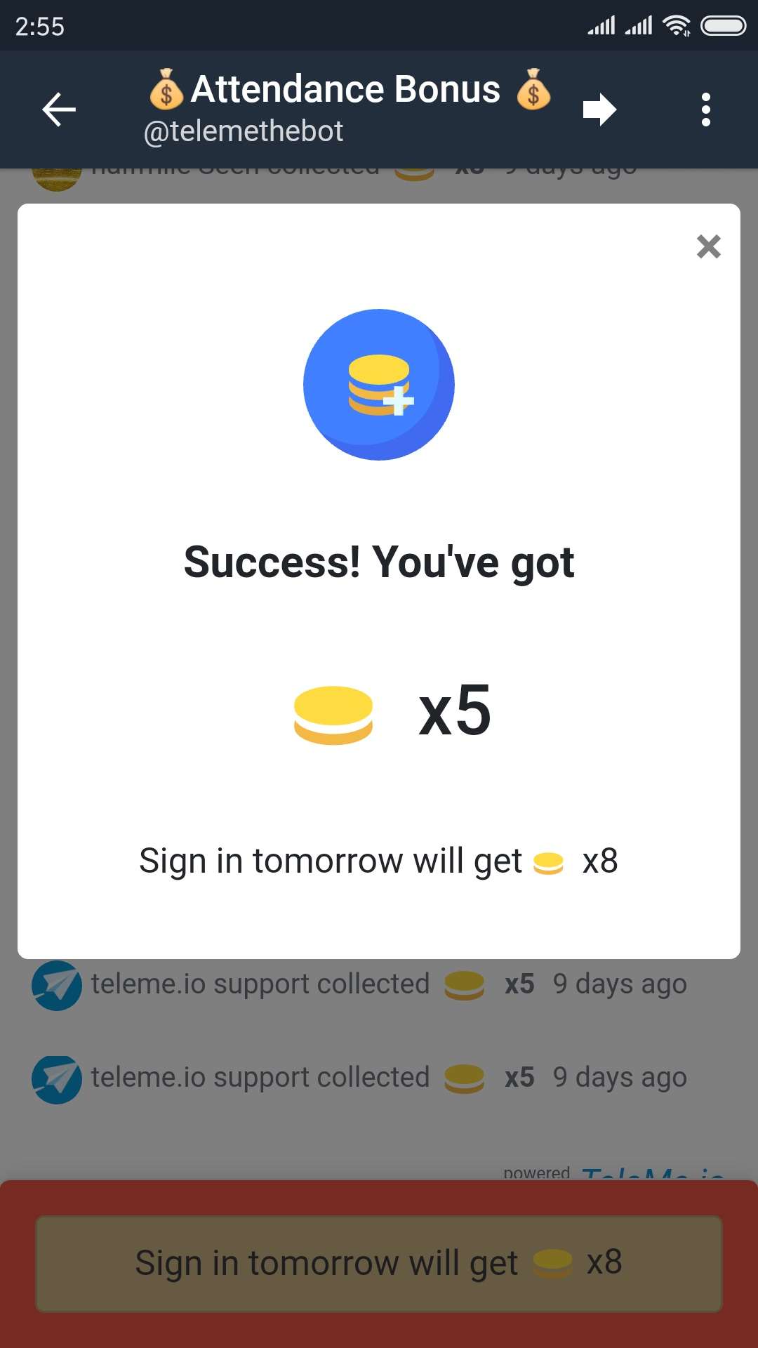 a screenshot of collecting attendance bonus