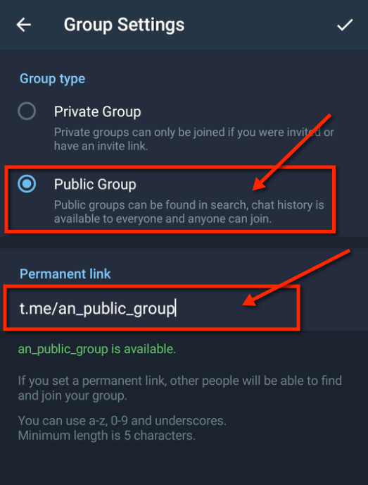 Set group public username